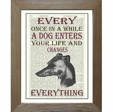 Greyhound Lurcher Dog Art Print on Original Vintage Antique Upcycled Book Page.