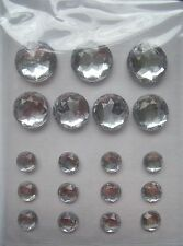 19 silver faceted round Sticky Jewels stick on gems diamante 7mm - 15mm cards