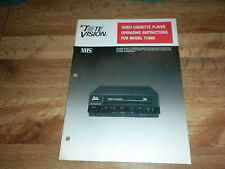 Tote Vision VHS Player Model TI-3000 Operating Instructions