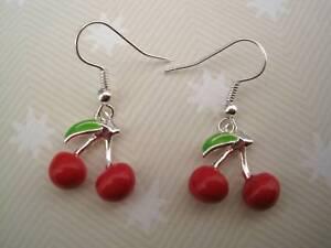 BUNCH OF CHERRIES Enamel Red Pair SP Drop Earrings Rockabilly CUTE CHERRY Leaf
