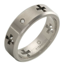 Gentlemens Cross Band Ring With CZ Crafted in Titanium