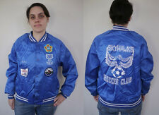 Vintage 90s SKYHAWKS Soccer KATIE Patches Fairborn OHIO Blue Baseball Jacket M