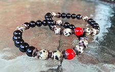 Black Onyx & Dalmatian Jasper Wrist Mala Beads Healing Bracelet