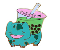 Matcha Milk Tea Boba-saur enamel pin pixel classic Pokemon games Bulbasaur green