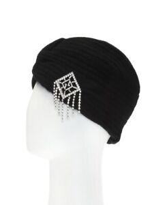 Gucci Women's Black Wool Turban Beanie Hat with Crystal Charm L/58 562491 1000