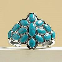 """SUZANNE SOMERS TURQUOISE & SILVER CUFF BRACELET 2"""" x 3"""" DESIGN SRP $249 NIB"""