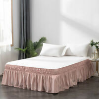 MOHAP Solid Plain Bed Dressing Dust Ruffle Skirt Wrap Around Queen 16'' Drop Bed