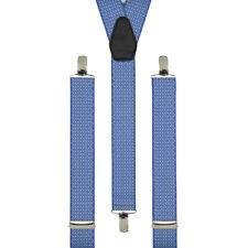 Cross Hatch Azul Clip en tirantes Hecho A Mano Reino Unido Pantalón Tirantes Elástico