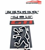 Kit 3 monogrammes : PEUGEOT+205+GTI + Logo LION de calandre pour 205