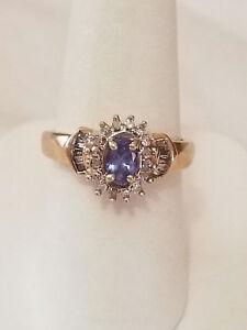 YELLOW GOLD 1CT DIAMOND & TANZANITE RING.SIZE 7