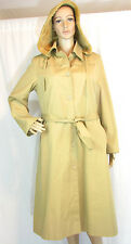 VTG '70s F.A.I. Womens 12 Tan Hooded Belted Faux Fur Lined Trench Coat Warm Cozy