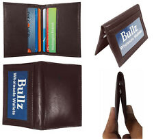 Men's New Thin Brown Bifold Genuine Leather Wallet ID Credit Card Money Holder.