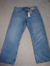 M&S DENIM WOMENS DISTRESSED STRAIGHT JEANS SIZE 12/ 28 INSIDE L. NWT COST £25.00