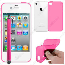 Housse Etui Coque Souple Silicone Gel Rose Apple iPhone 4S 4 + Stylet