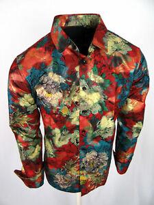 Burgundy Shirt Floral Print Mens Slim Fit Designer Fashion Button Up Gold Foil