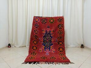 Vintage Tribal Handmade Moroccan Rug 3'5''x5'5'' Floral Red Wool Berber Carpet