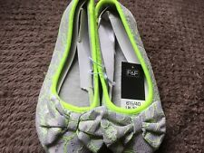 F&F Ballet Slippers Grey Lace Effect, Lime Piping UK6.5