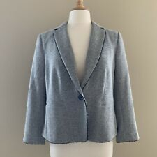 NWT Ann Taylor Herringbone Grey Blazer One Button Womens Size 12 Cotton Lined