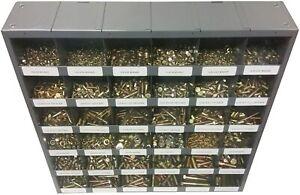2,510 piece Grade 8 Coarse Thread Nut Bolt & Washer Assortment with Metal Bin