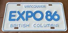 British Columbia 1986 VANCOUVER EXPO 86 SOUVENIR License Plate