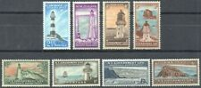 New Zealand 1947 KGVI Life Insurance Lighthouse complete set of 8 to 1s LMM/MNH