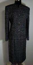 Vtg Womens Suit Jacket Skirt Size 6 Black White Plaid Lined Long Sleeve
