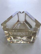 Vintage Triangular Cut Heavy Glass Ashtray Smoke Effect 1960's