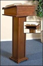 "MRT Hardwood Lectern w Shelf 43"" Church Chapel Pulpit Stand Walnut Stain Gift"