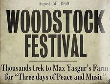 "TIN SIGN ""Woodstock""  Festival Garage Wall Decor"