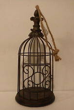 Home Accents Hanging Metal Bird Cage W/Wood Base Home Decor Cages Decorative