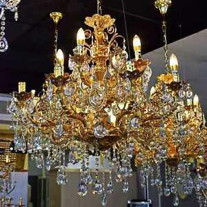 Barock Kronleuchter Gold 85 cm 12-armig Deckenlüster Lüster Wohnzimmer Licht