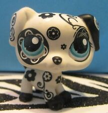 Littlest Pet Shop #1613 Black & White Flower Dalmatian Puppy Dog Blemish