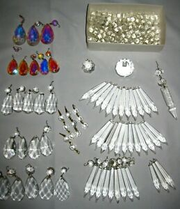 Vintage Misc. Lot 75 Faceted Crystal Prisms Teardrops Icicles Beads Lamps Crafts