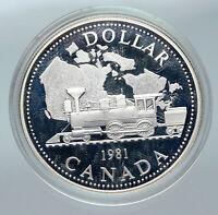 1981 CANADA w UK Queen Elizabeth II Railway OLD Train Silver Dollar Coin i85730