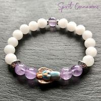 Guardian Angel Chakra Bracelet with Healing White Jade & Amethyst Gemstone Beads