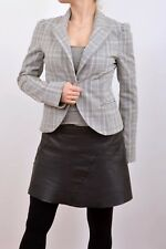 Denny Rose Single Breasted Blazer Jacket Stretch Tartan Checked M Made in ITALY