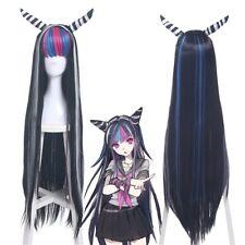 Danganronpa Mioda Ibuki Wig Clip Horn Long Straight Mix Color Hair Cosplay Wigs