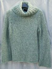 Green/Wht Tneck Express Wool BLD THICK Sweater M HAND KNIT $6S CHUNKY WINTER NWT