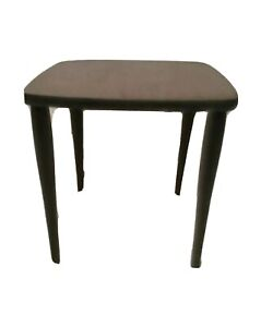 Vtg Mid Century Modern End Table Accent Plant Stand Walnut w Black Tapered Legs