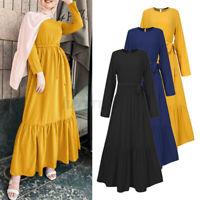 ZANZEA Womens Long Sleeve Solid Muslim Casual Loose Abaya Kaftan Belt Maxi Dress