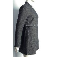 New Grey Stand Collar Leather Trim Herringbone Woollen Coat  6/8