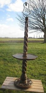 Antique Triple Open Barley Twist Carved Wood Thick Lamp Table