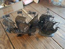 Set of 3 Embossed Tin Metal Viking Long Boat Ship Jere Style Sculpture Art
