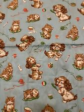 Vintage 1970's Fabric  With Puppies & kittens  Cotton 55 x 34