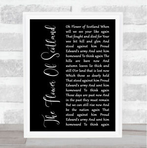 The Flower Of Scotland Black Script Song Lyric Print