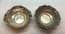 """Antique Pair of Floral Detailed Sterling Silver Bowls. Both 3.25""""dia. x 7/8""""H"""