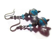 Vintage style facet Deep Aqua Blue Lampwork glass & Swarovski bronze earrings