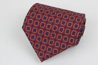 Hand Made. POLO RALPH LAUREN Silk Tie. Red w Blue Boxed Diamond Geometric.