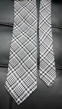 Versace Woven Black Off-white Sheppard's Check Pattern Silk Tie