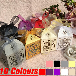 25-100Pcs Love Heart Laser Cut Candy Gift Box Wedding Party Favour Boxes Ribbons